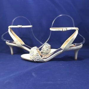Badgley Mischka Fiona Ivory Satin Sandals